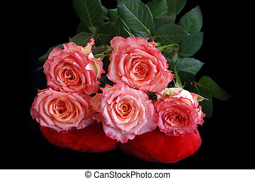 Bouquet of roses on a black background
