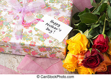 """Bouquet of Roses, Present, and a """"Happy Mother's Day"""" Card"""