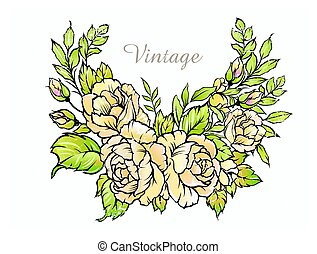 Bouquet of roses, vintage vector