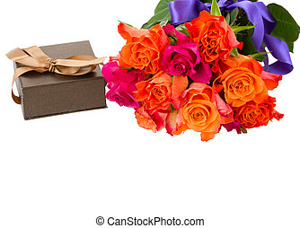bouquet of roses with gift box