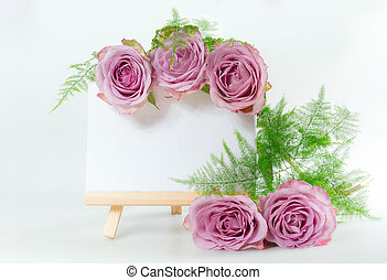 bouquet of roses with space for text. Mock-up