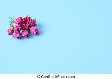 Bouquet of small buds of pink roses on a bright background