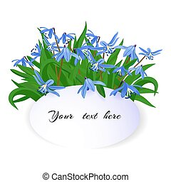 bouquet of spring blue snowdrops