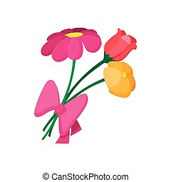 Bouquet of spring flowers cartoon icon