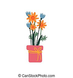 Bouquet of Spring Flowers in Flowerpot Vector Illustration