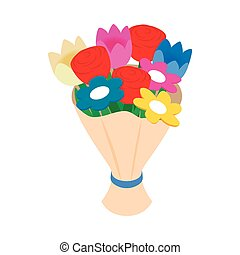 Bouquet of spring flowers isometric 3d icon