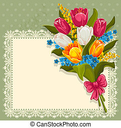 Bouquet of spring flowers - Vintage background with bouquet ...