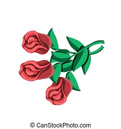 Bouquet of three roses icon design element on a white isolated background. Vector image