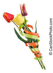 Bouquet of three tulips
