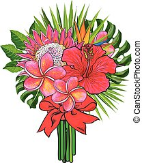 Bouquet of tropical flowers and green leaves with red ribbon isolated on white background.