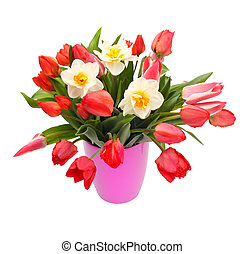 bouquet of tulips and narcissus flowers