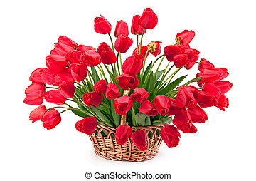 Bouquet of tulips in a basket.