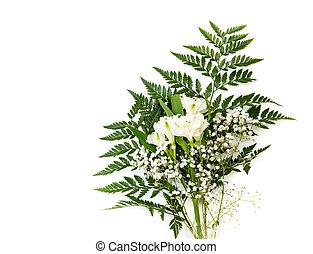 bouquet of white Alstroemeria with fern isolated on white background