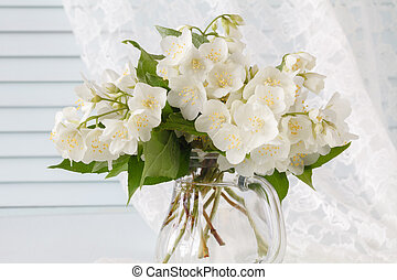 bouquet of white flowers in a vase