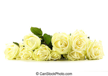 Bouquet of white roses isolated on a white