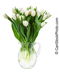 bouquet of white tulips in vase