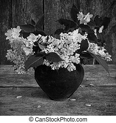 Bouquet of wild flowers - Black and white photo of the...