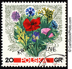 Bouquet of wildflowers on post stamp