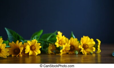 bouquet of yellow big daisies on a black background