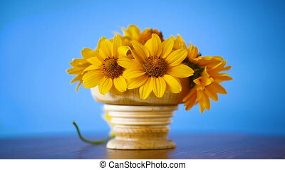 bouquet of yellow big daisies on blue background
