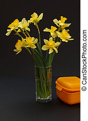 Bouquet of yellow daffodils in vase on a black background.