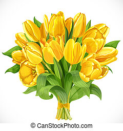Bouquet of yellow tulips isolated on a white background