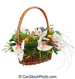 bouquet, osier, isolé, arrière-plan., panier, blanc, orchidées, closeup.