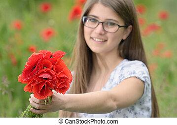 bouquet, pavot, girl, jeune