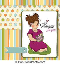 bouquet, pige, blomst, unge