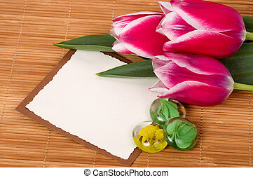 bouquet pink tulips and card