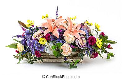 bouquet, pot, fleurs, argile