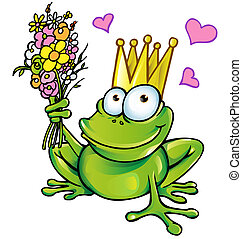 bouquet, prince, grenouille