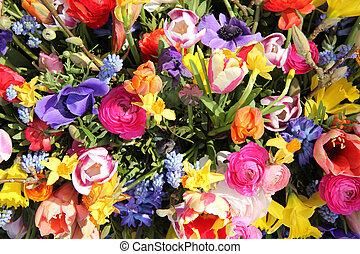 bouquet, printemps, clair, fleur, coloré