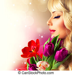 bouquet, printemps, femme, fleur, beauté