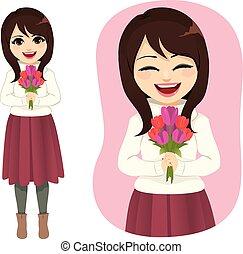 bouquet, printemps, femme, fleurs, tenue