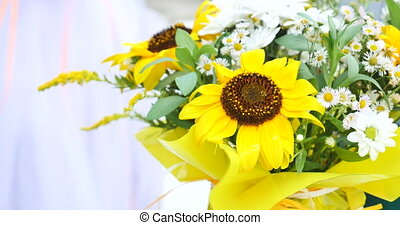 bouquet, printemps, flowers., jaune