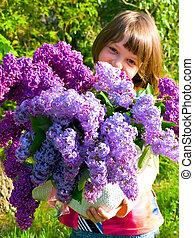 bouquet, printemps, girl, lilas, photo