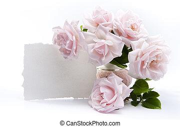 bouquet rózsa, helyett, romantikus, köszönés kártya