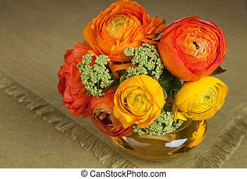 bouquet, ranunculus, fleur, jaune, vase