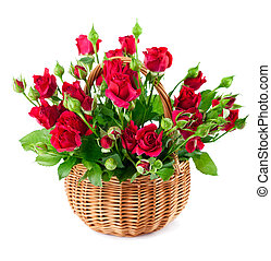 bouquet red roses in basket - bouque red roses in bucket....