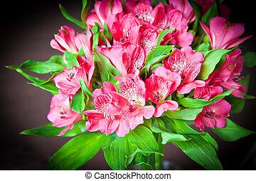 bouquet, rose, alstromeria