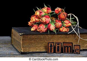 bouquet, rose, antiquité, livre