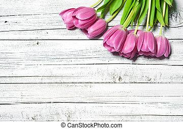 bouquet, rose, printemps, tulipes