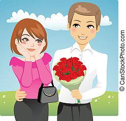 bouquet, rose, rouges