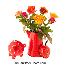 Bouquet roses and piggy bank