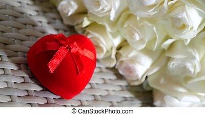 bouquet, roses, anneau, engagement