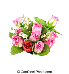 bouquet, roses, blanc, isolé, valentin