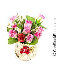 bouquet, roses, blanc, isolé, vase