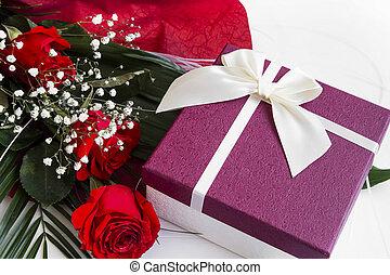 Bouquet,  roses, boîte, cadeau