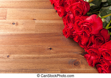 bouquet, roses, bureau bois